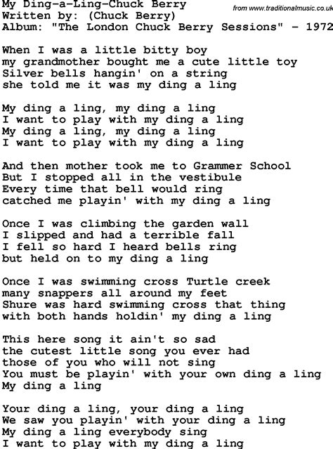 lyrics chuck novelty song my ding a chuck berry lyrics