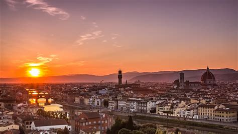 time out florence city florence panorama cityscape day to night time lapse city lighting up after sunset stock footage