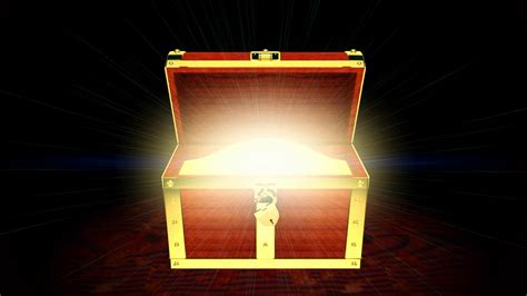 Wooden Treasure Chest With Light Inside 3d Animation