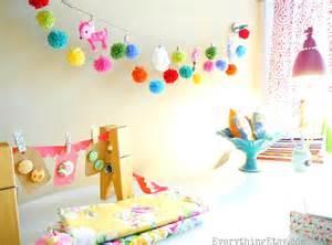 Craft Room Desk Ideas - pom pom garland amp my crafty workspace