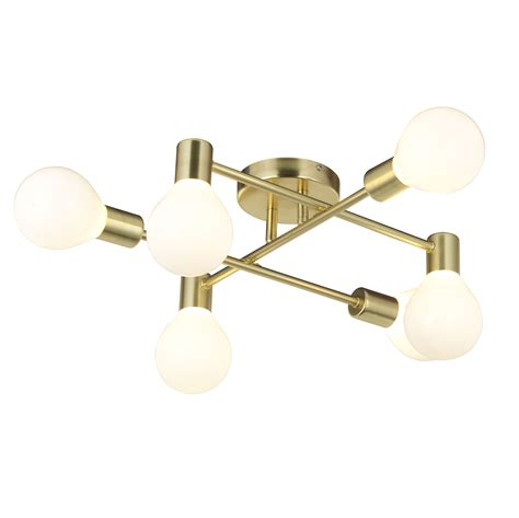 Gold Ceiling Light Channing Modern Gold Satin Brushed 6 L Ceiling Light Departments Diy At B Q