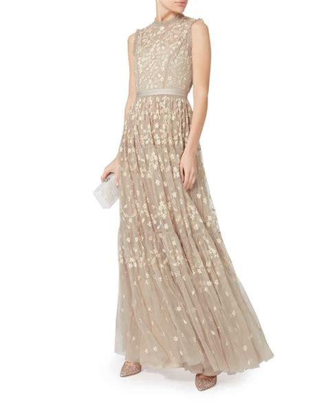 Clover Beige needle thread clover embellished beige gown we