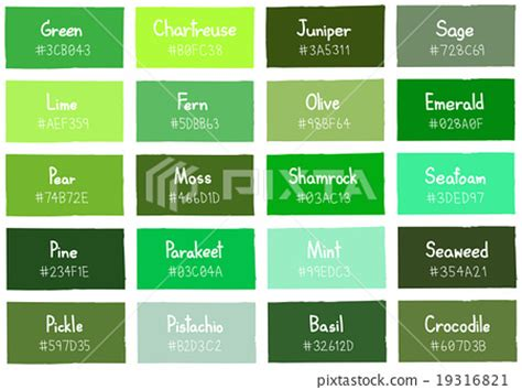 colour shades with names green tone color shade background with code name stock