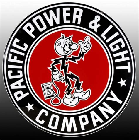 pacific power and light company porcelain sign antique