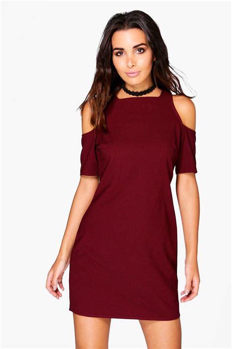 shoulder 3 4 sleeve dress boohoo womens hayley cold shoulder 3 4 sleeve shift dress