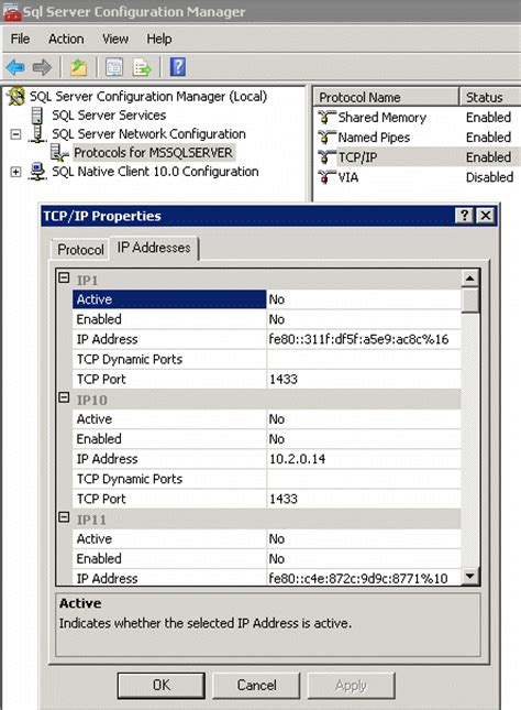 ip and port check how to check microsoft sql tcp ip and port settings