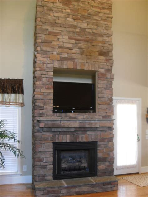 stacked stone fireplace surround home design