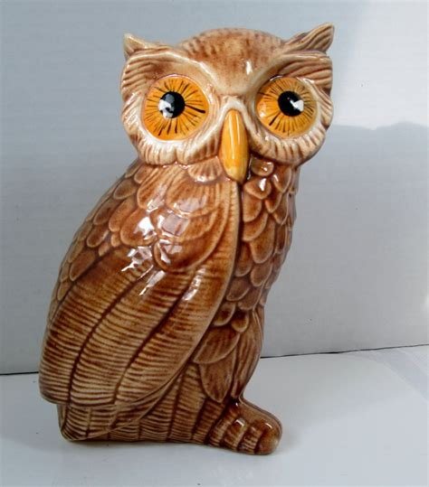 vintage owl figurine glossy with yellow