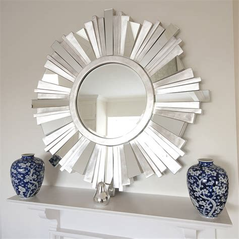 mirror decor striking silver contemporary mirror by decorative mirrors online notonthehighstreet com