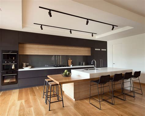 Contemporary Track Lighting Kitchen Modern Track Lighting Impressive American Oak With Clear Coat Finish Contemporary Kitchen