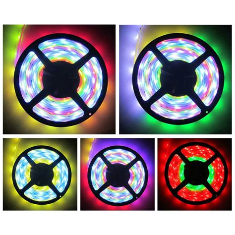 Jual Led Smd 5050 Surabaya Led Light Smd 5050 Rgb 7 Color With Eu Controller 220v 5m White