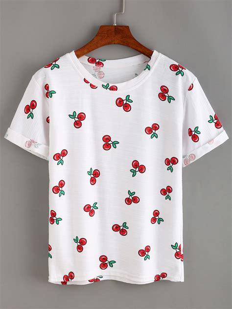 T Shirt Print Astolfo allover cherry print t shirt shein sheinside