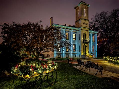 Usa Parks Houses Bench Fairy Lights Lawn Saint Louis St Louis Botanical Gardens Lights