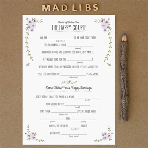 printable wedding mad libs template free printables bridesmaid thank you cards rustic mad libs