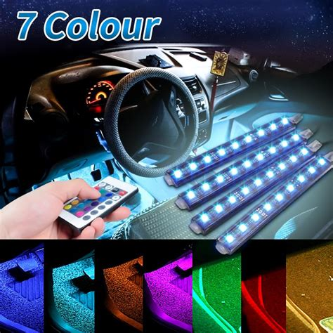 4pcs 5050 9 smd 10w led rgb car auto interior floor decorative atmosphere pathway deco