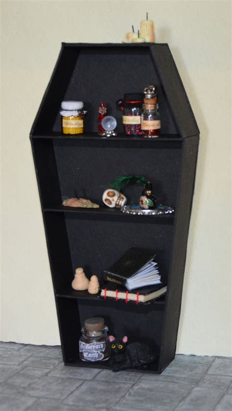 miniature witch bookcase coffin book in