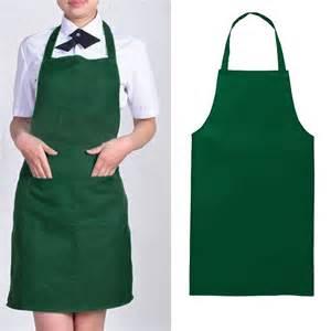 Kitchen Dresses by Unisex Kitchen Restaurant Solid Apron Bib Pocket