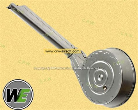 Magazine We P08 Sliver Gbb 50rd drum magazine for p08 gbb series silver by we