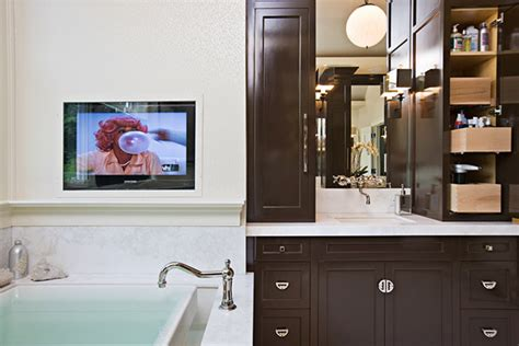 Bathroom Tv Mount by Chocolate Brown Cabinets Bathroom Doryn Wallach