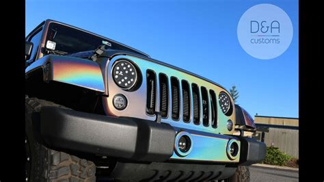 holographic jeep vvivid gold wrap removal and 3m psychedelic wrap