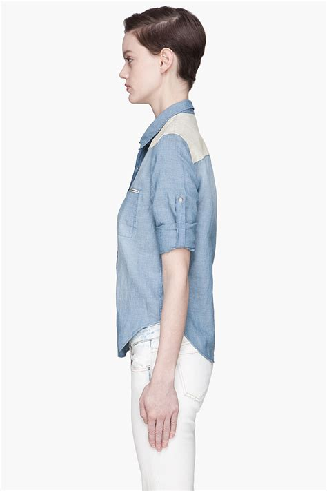 Travis Blouse lyst iro faded blue denim and leather travis blouse in blue