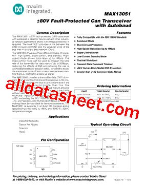 maxim integrated products contact max13051 14 datasheet pdf maxim integrated products