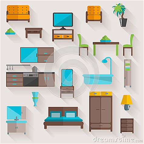 Living Room Flat Design Vector Furniture Home Flat Icons Set Stock Vector Image 53063913