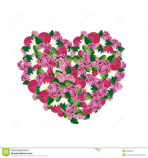 love heart made of flowers heart made from pink flowers stock vector image 52058063