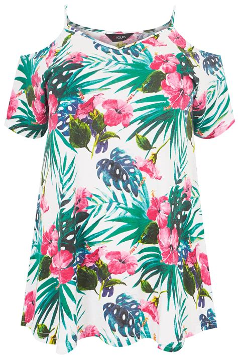Letter Casual Top 40805 multicoloured tropical floral cold shoulder jersey top