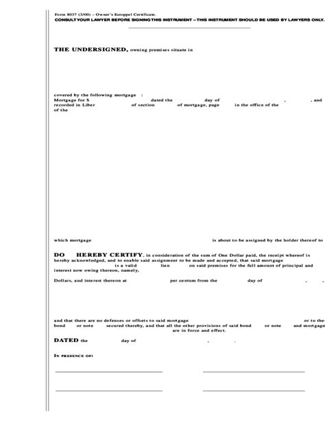 form 8037 3 00 owner s estoppel certificate free download