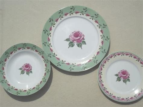 rose pink gingham pattern dishes home trends china