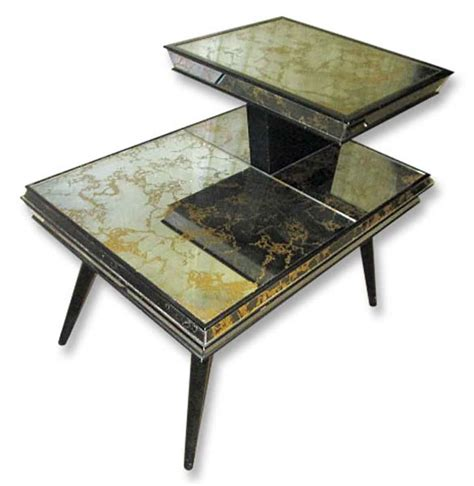 Mirrored Side Table Living Room Mirrored Mid Century Side Table Olde Things