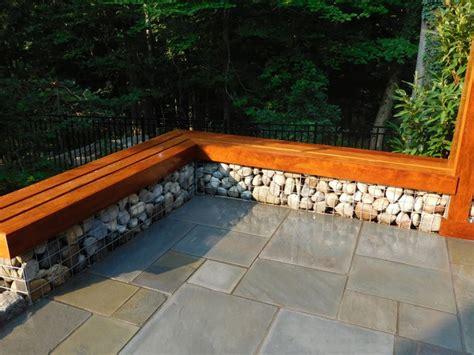 ipe bench ipe bench capping river rock gabions