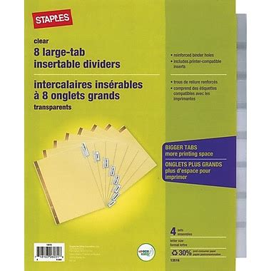 Avery Big Tab Insertable Dividers Review Staples Better Dividers Print Template