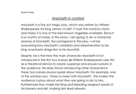 Character Analysis Of Macbeth Essay by I Am Going To Do A Character Analysis Of Macbeth The Protagonist In This Play I Will Be