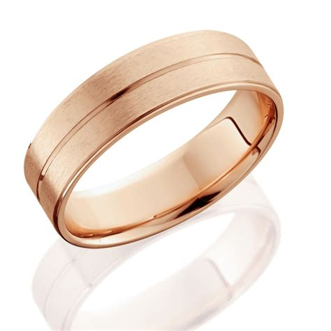 14k Rose Gold Mens Brushed Flat Wedding Band 6mm Ebay