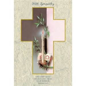religious sympathy cards candle laminated with gold foil embossed medal design