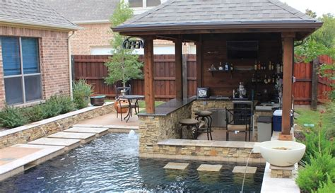 Small Yard Patio Cover With Outdoor Kitchen And Custom Backyard Designs With Pool And Outdoor Kitchen
