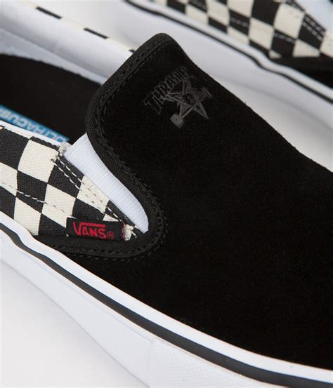 Vans X Thrasher Slip On Pro Checkerboard vans x thrasher slip on pro shoes black checkerboard flatspot