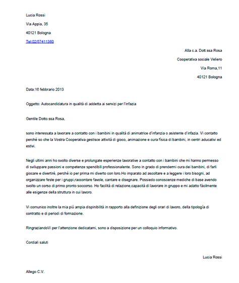 lettere commerciali italiano esempi esempio di lettera di presentazione per un autocandidatura