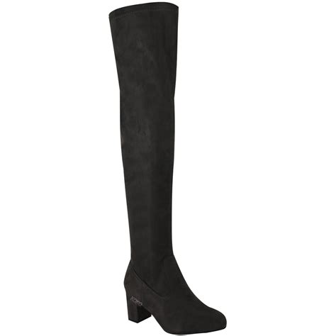 mid heel thigh high boots womens thigh high boots the knee stretchy