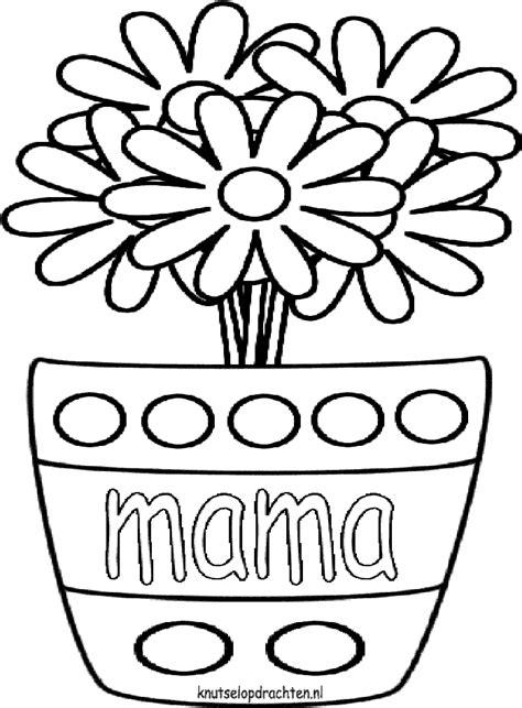 kleurplaat bloem moederdag kleurplaat bloempot met bloemen moederdag