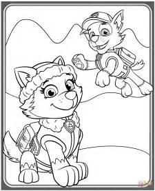 coloring page paw patrol everest everest and rocky coloring page free printable coloring
