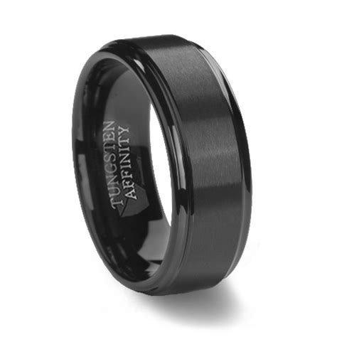 black tungsten carbide ring polished step edge