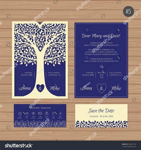 templates for cards lace tree cards wedding invitation greeting card tree paper stock vector