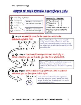 5 Oa 1 Worksheets by 5 Oa 1 Order Of Operations Notes By Ciano S Classroom