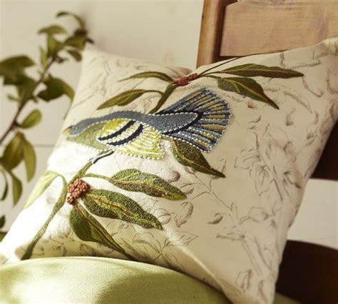 bird embroidered pillow covers embroidery