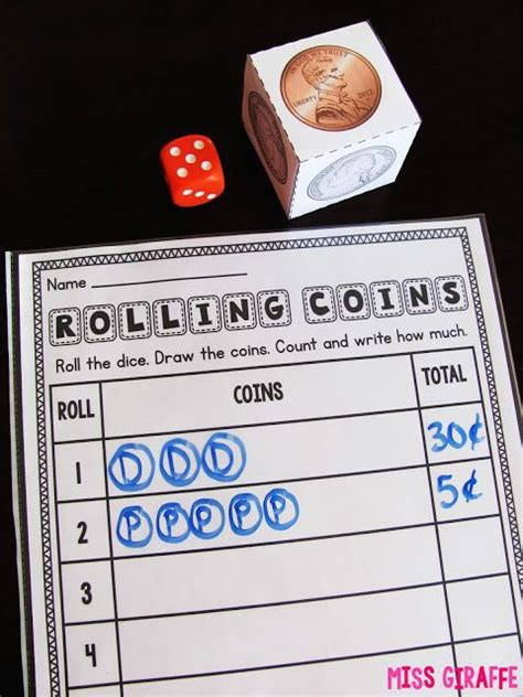 printable coin dice money games for kids this one they roll the coin dice