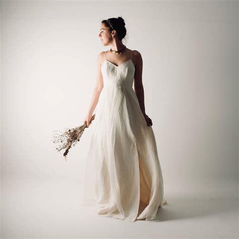 Linen Wedding Dresses by Echinacea Linen Modern Wedding Simple Wedding Dress By