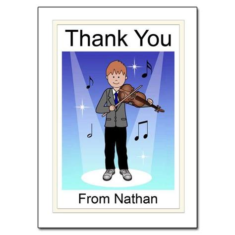 Thank You Letter To Violin Violin Recital Thank You Note Cards Mandys Moon Personalized Gifts